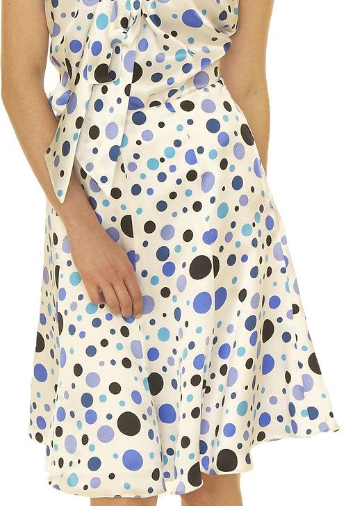 Multi Blue Silk Print 8 Gore Flare Skirt