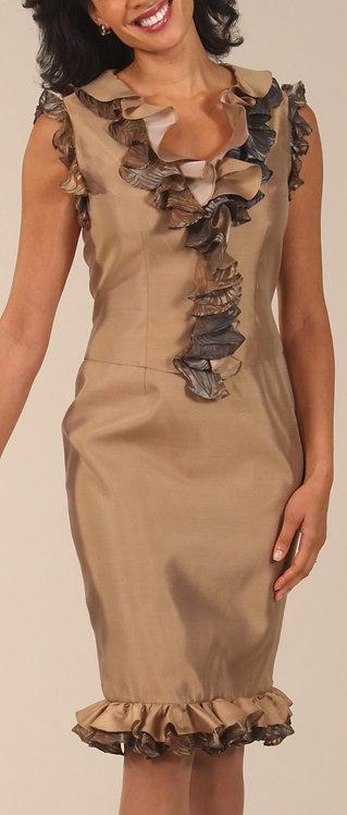 Beige Italian Silk Ruffle Trim Cocktail Dress