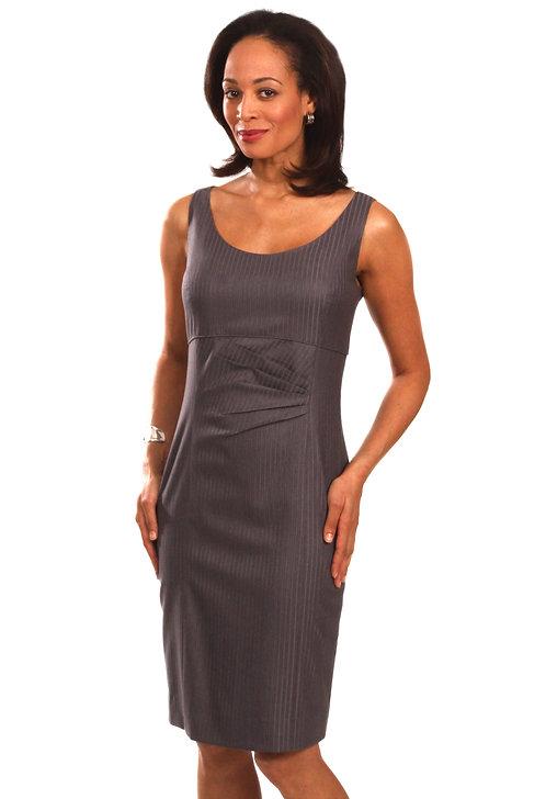 Scoop Neck Dress w/ Asymmetrical Pleating Detail