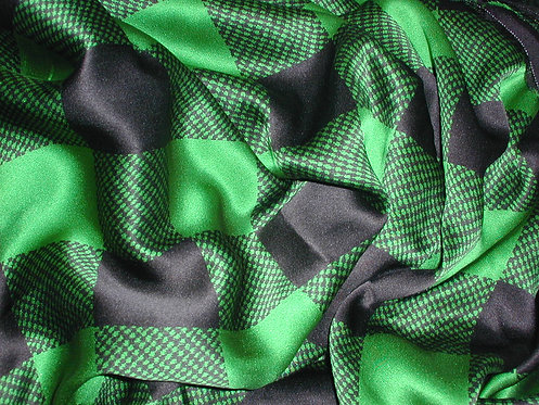 Green/Black Check Print Silk Charmeuse