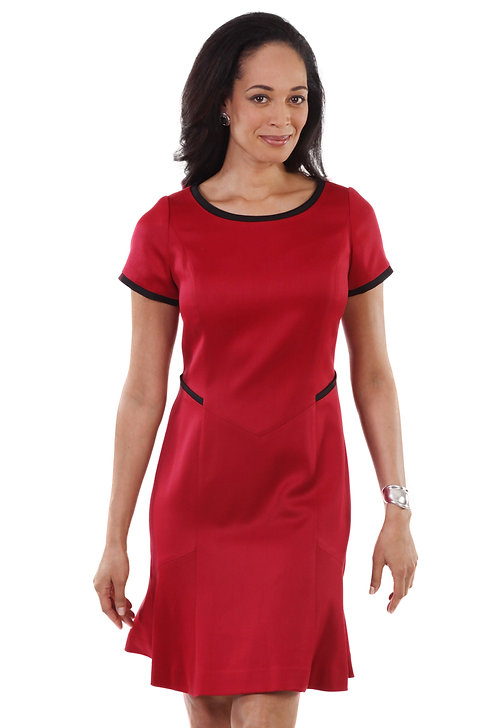 Red Boat Neck Flared Dress w/Trim Detail