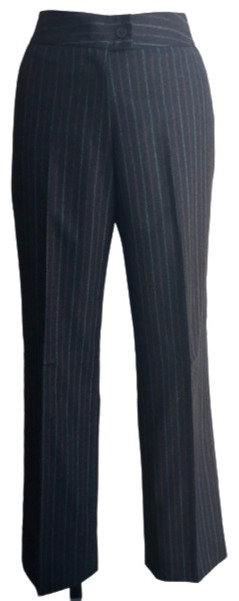 Grey Italian Flannel with Pinstripe Straight Leg Pant