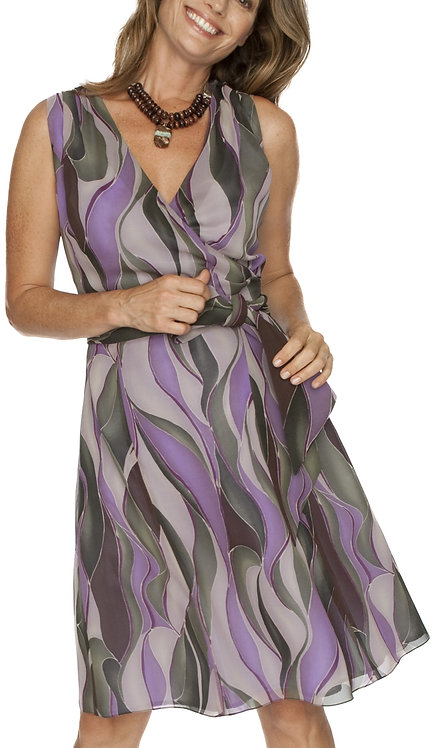 Purple and Green Abstract Belted Silk Dress