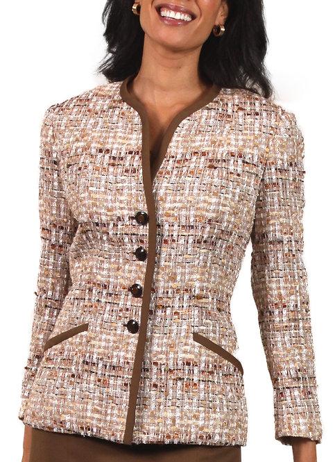 Beige Brown Tweed Slit Neck 4 Button Jacket w/ Trim