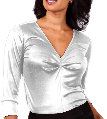 Shirred V-Neck - White