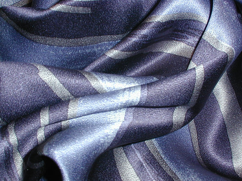 Navy/Gray/Blue Striped Print Silk Charmeuse-S357