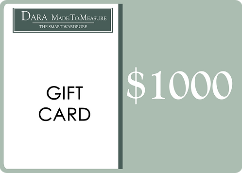 DARA Made-to-Measure Gift Card - $1000