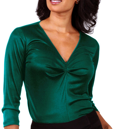 Shirred V-Neck - Emerald