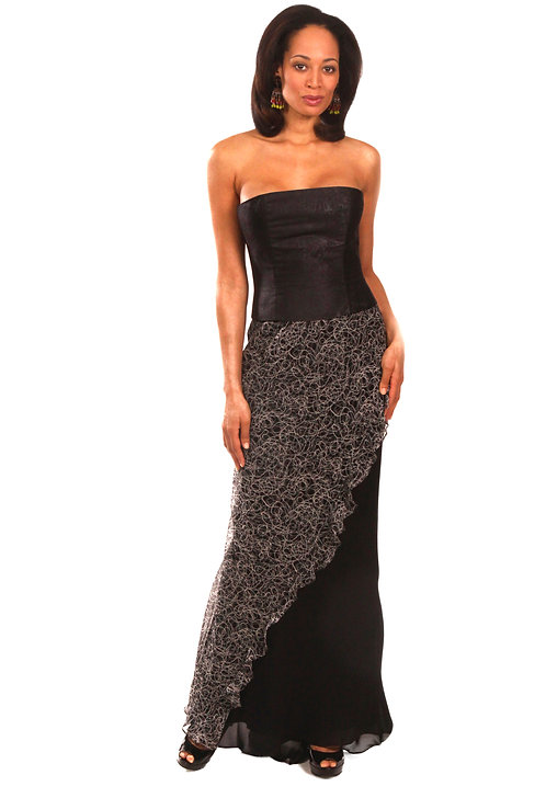 Strapless Gown w/ Flounce Overlay