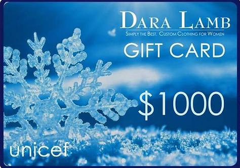 $1000 DARA LAMB unicef Gift Card