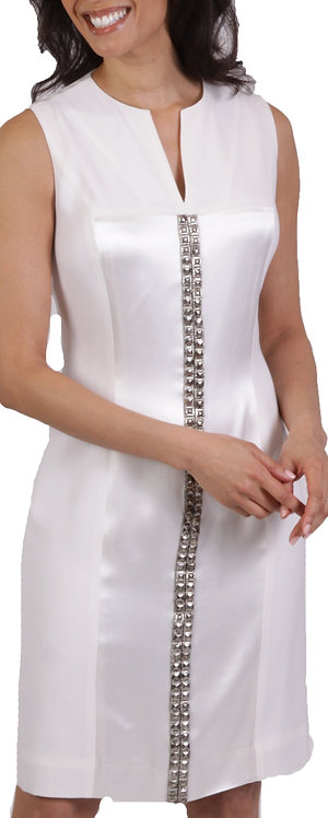 Ivory Embellished Split Neck Sheath Dress