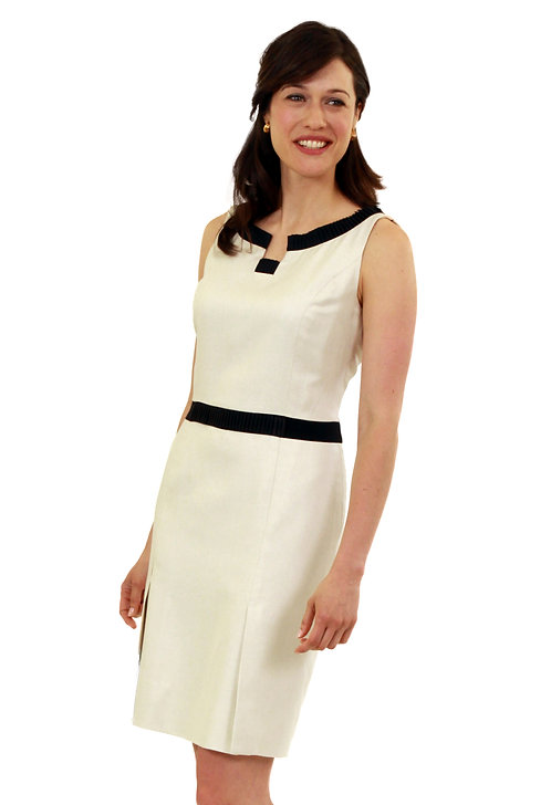 Boatneck Dress w/ Pleating Detail