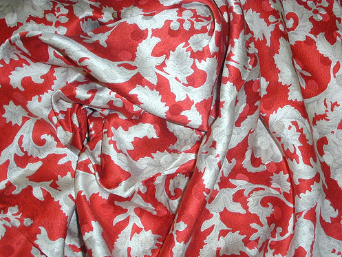 Red/Ivory/Gray Floral Print Silk Charmeuse