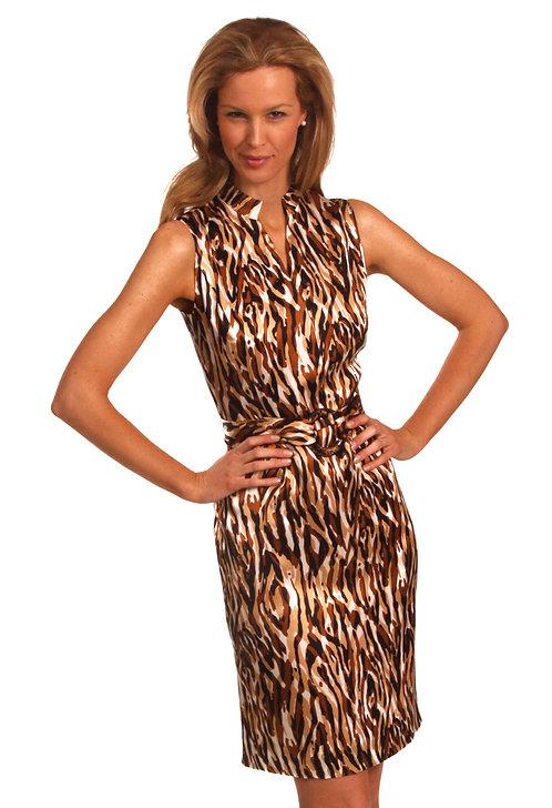 V-Neck Mandarin Collar Belted Sheath Dress