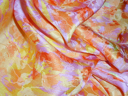 Yellow/Pink/Orange/Lilac Floral Print Jacquard Silk Charmeuse