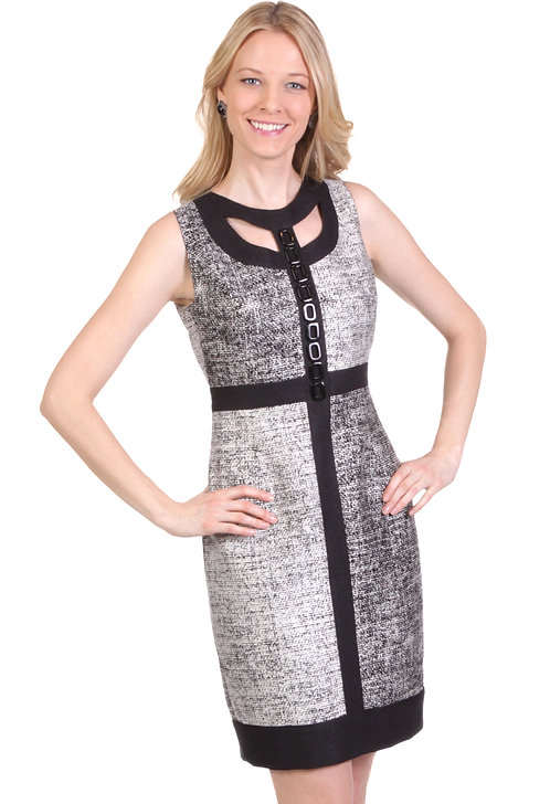 Round Neck Mondrian Dress w/ Cut-Out & Trim