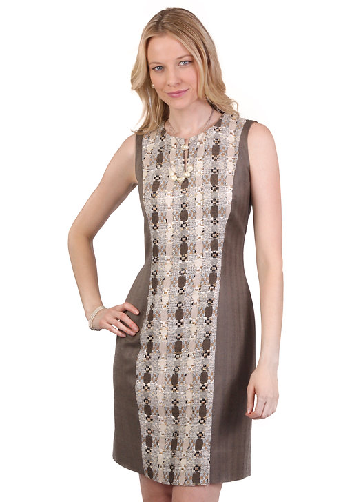 Slit Neck Panel Sheath Dress