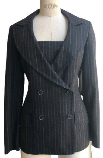 Grey Italian Flannel with Pinstripe Peak Lapel Jacket