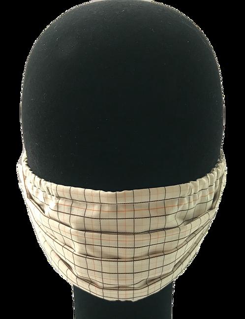 Ivory/Brown/Orange Check 100% Cotton Mask w/Filter Pocket