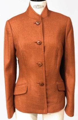 Burnt Orange English Tweed Stand Collar 4 Button Jacket