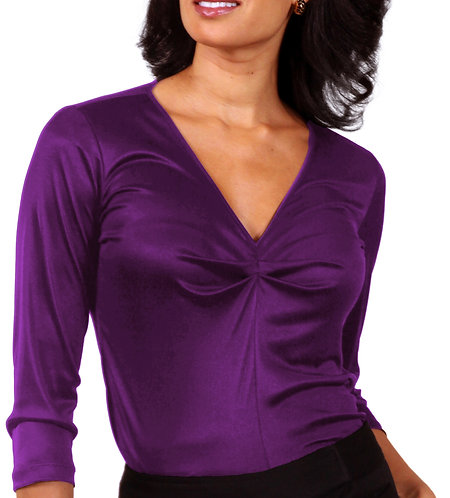 Shirred V-Neck - Grape