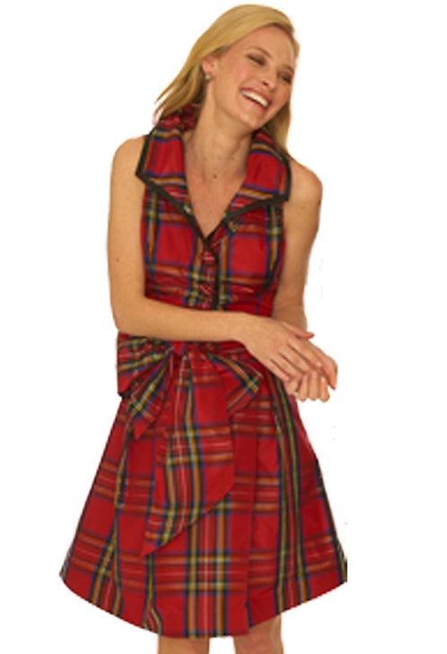 Red Silk Tartan Wedge Collar Flare Dress w/ Sash