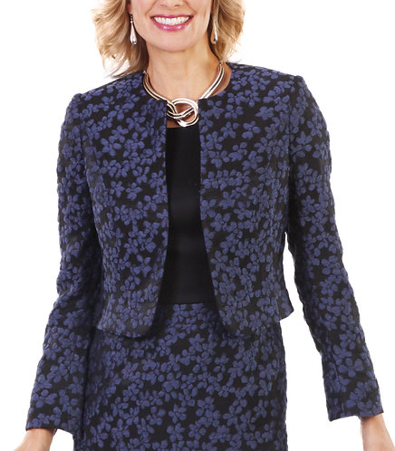 Blue and Black Floral Cropped Bolero Jacket