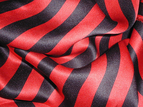Red/Black Striped Silk Charmeuse-S387
