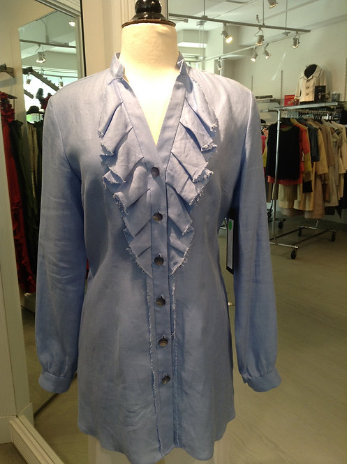 V-Neck Mandarin Collar Button Front Tunic Blouse