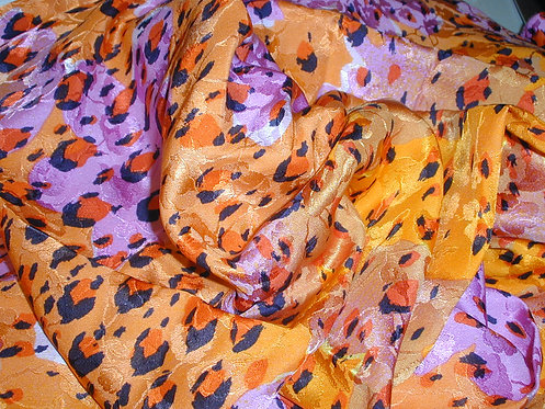 Orange/Pink/Black Multi Colored Cheetah Print Silk Charmeuse