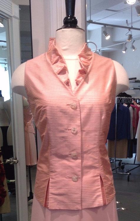 V-Neck Ruffle Collar 4 Button Vest w/ Pleats