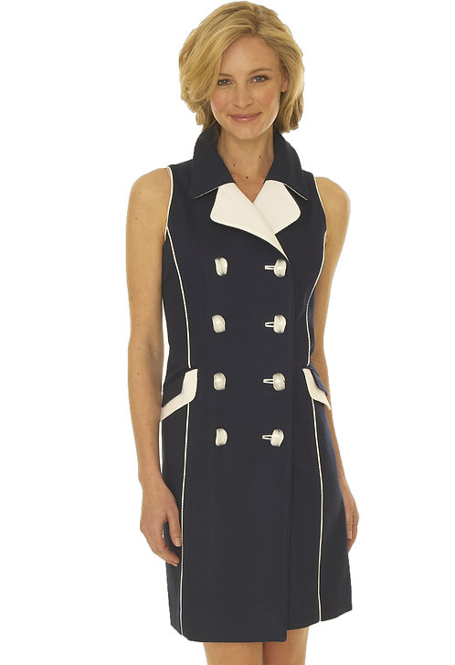 Double Breast Notched Lapel Coat Dress