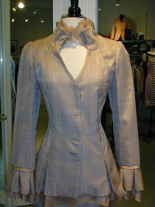 V-Neck Stand Pleated Collar Jacket w/ Trim