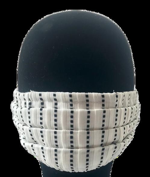 White w/ Black dotted Stripe 100% Cotton Mask w/Filter Pocket