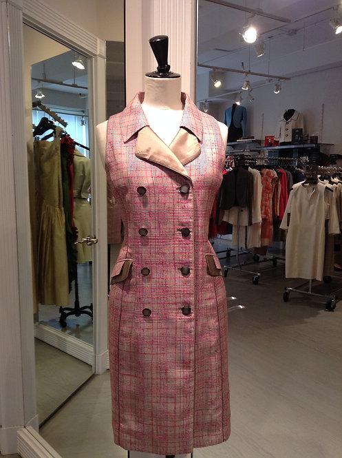 Pink Plaid Overlap Collar Sleeveless CoatDress