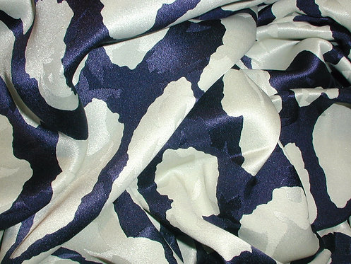 White/Navy Blue Abstract Print Silk Charmeuse
