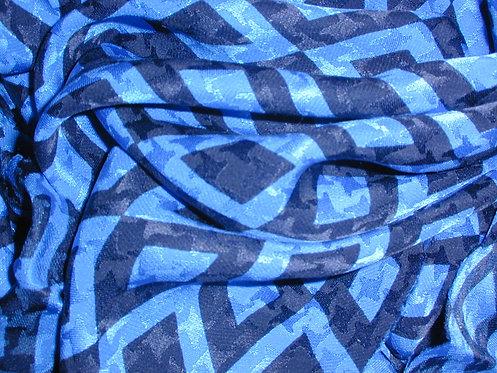 Blue/Navy Geometric Print Silk Charmeuse-S357