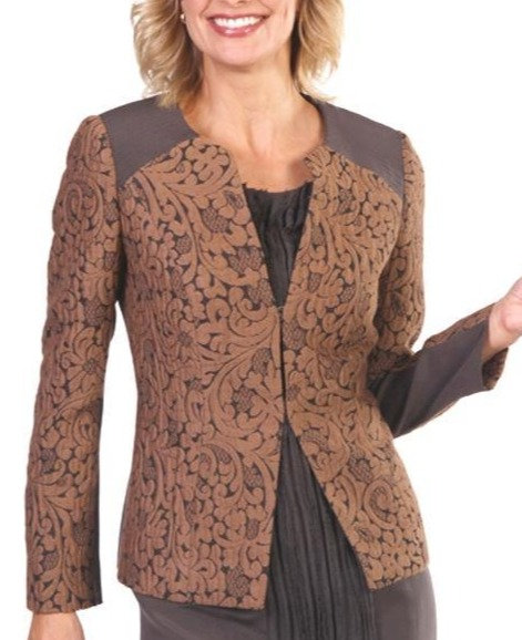 Chocolate & Camel Floral Wool Jacquard Kissing Panel Jacket with Trapunto Stitch