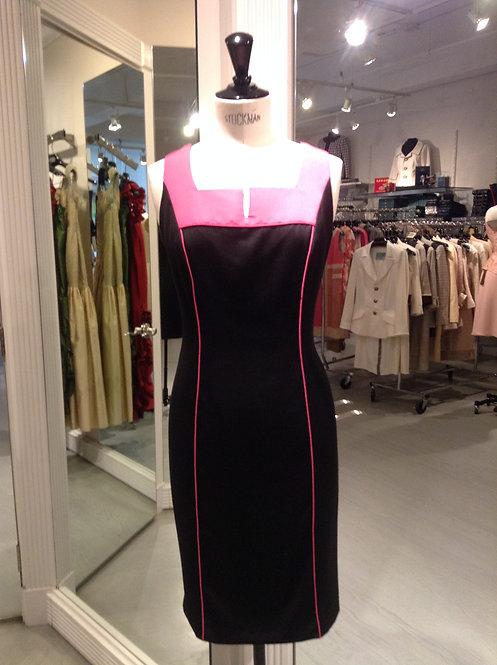 Slit Square Neck Sheath Dress w/ Yoke