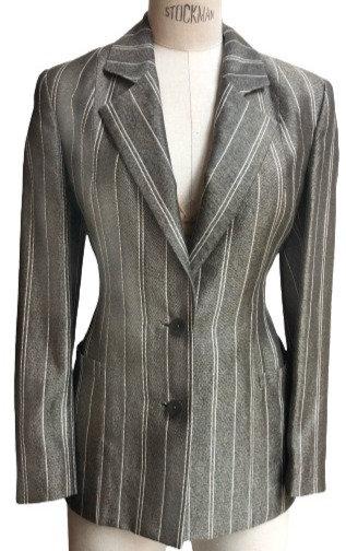 Grey Italian Silk with White Pinstripe Peak Lapel Jacket