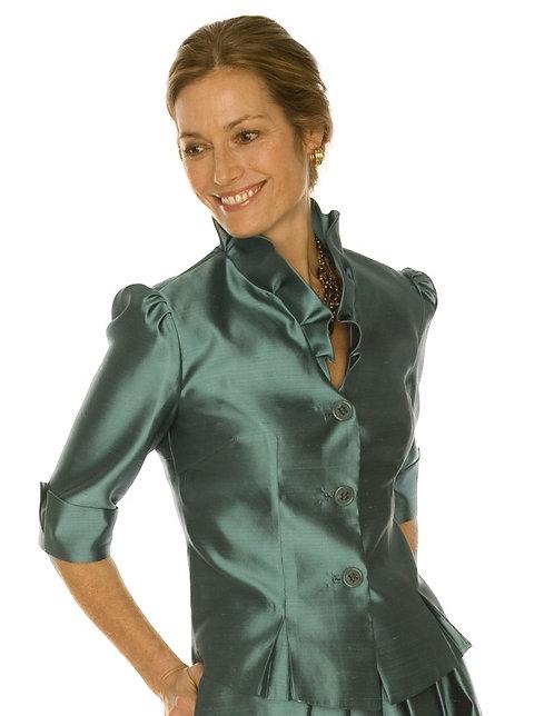 3 Button V-Neck Jacket w/ Ruffle Collar