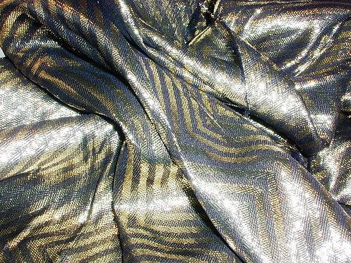 Black/Gold Jacquard Print Lurex Silk