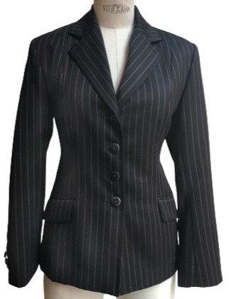 Charcoal Italian Wool Subtle Pinstripe Jacket