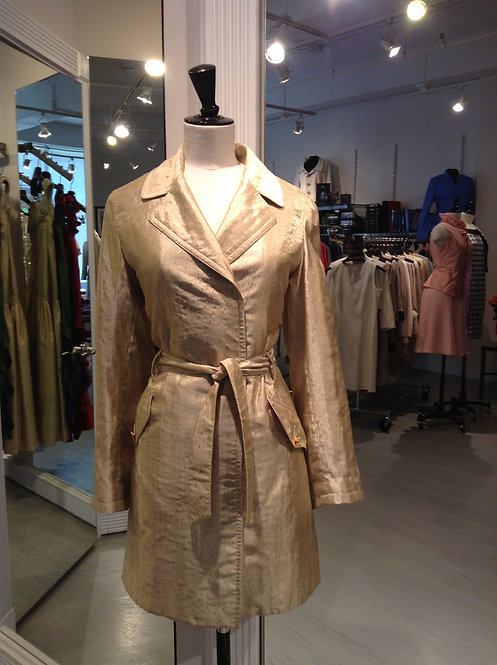 Shimmer Gold Notched Collar Belted Trench Coat