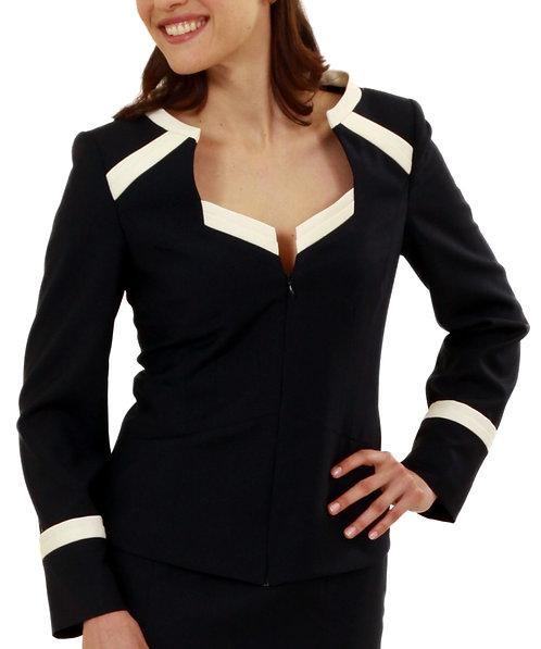 Navy Italian Wool Portrait Collar Zip Jacket w/ Trim