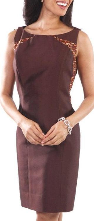 Chocolate Silk Brocade Boatneck Sheath Dress