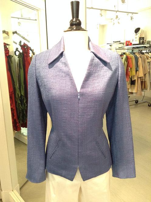 V-Neck Key Collar Zip Front Jacket