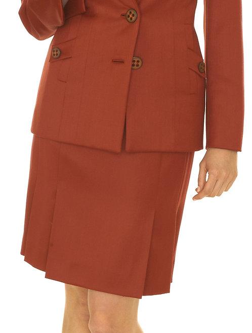 Rust Wool Pleated Skirt
