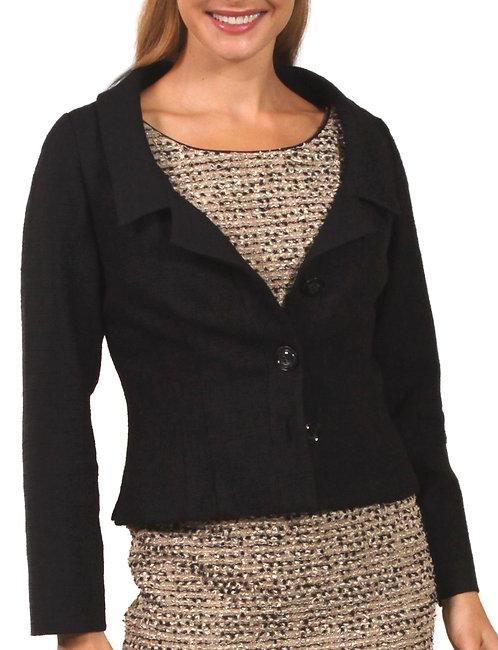 Black Wool Portrait Collar Blouse Jacket