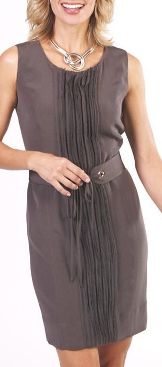 Chocolate Silk Belted Scoop Neck Sheath Dress